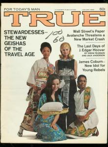 TRUE PULP MAGAZINE-JAN 1969-J EDGAR HOOVER-JAMES COBURN VG/FN