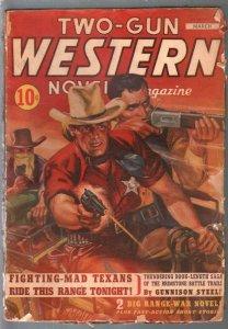 Two-Gun Western Novels 3/1943-rare WWII issue-pulp thrills-Marvel-G/VG
