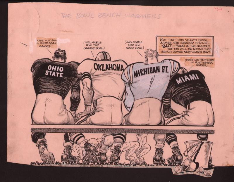 Karl Hubenthal Original Sporting News Art-NCAA Bowl Games-Ohio State-Miami FL-G