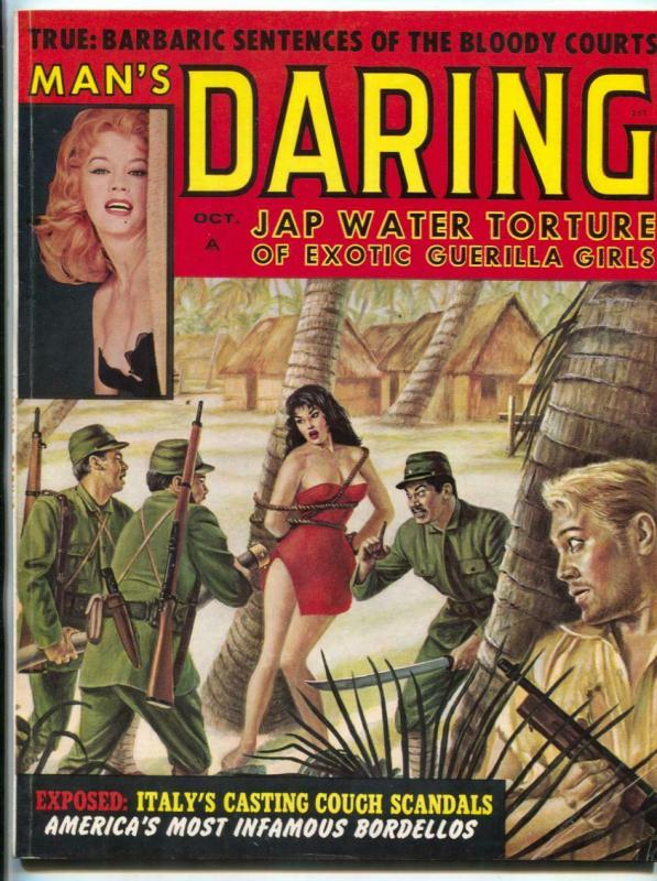 Man's Daring Magazine October 1960- bondage cover incomplete
