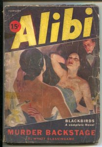 Alibi #2 2/1934-Ace--Brutal cover knife wound in her back-Wyatt Blassingame-h...