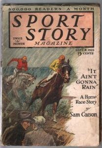 Sport Story 9/8/1925-F A Carter cover-horse racimg-Sam Carson-G/VG