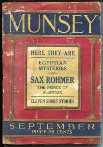 Munsey 9/1923-Sax Rohmer-Coca-Cola ad-Black Jack Gum-Egyptian Mysteries-P