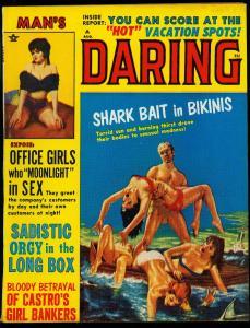 Man's Daring Pulp Magazine August 1964 - Shark Bait in Bikinis- Sadistic Orgy FN