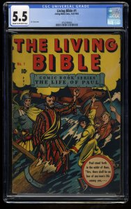 The Living Bible #1 CGC FN- 5.5 Cream To Off White L.B. Cole Cover!