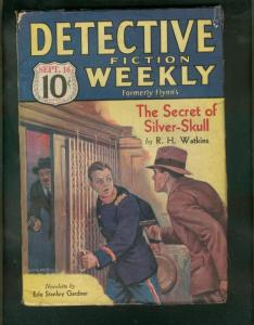 DETECTIVE FICTION WEEKLY PULP-9/16/33-SILVER SKULL-CRIM VG