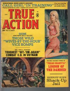 True Action 1/1968-Gil Cohen spicy blonde cover-war-crime--pulp thrills-vg