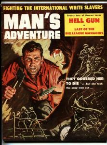 Man's Adventure Sep 1957-Stanley-Chris Viereck cheesecake pix-Doore-slavery