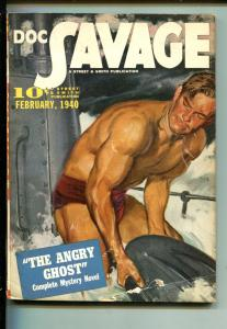 DOC SAVAGE 02/1940-STREET & SMITH-THE ANGRY GHOST-PULP THRILLS-fn/vf