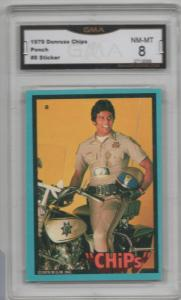1979 Donruss CHiPs Sticker #8 Ponch Erik Estrada GMA Graded 8 Unique Gift Idea!