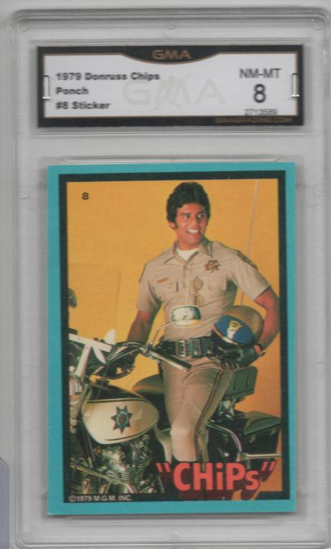 1979 Donruss CHips Sticker #8 Ponch GMA Graded 8 Unique Gift Idea!