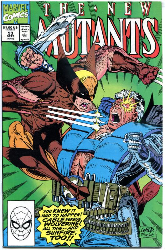 NEW MUTANTS #93, NM-, Cable vs Wolverine, 1st, McFarlane, more Marvel in store