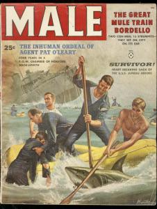 MALE MAGAZINE OCT 1958-SHARK COVER-KUNSTLER-BORDELLO-GG VG