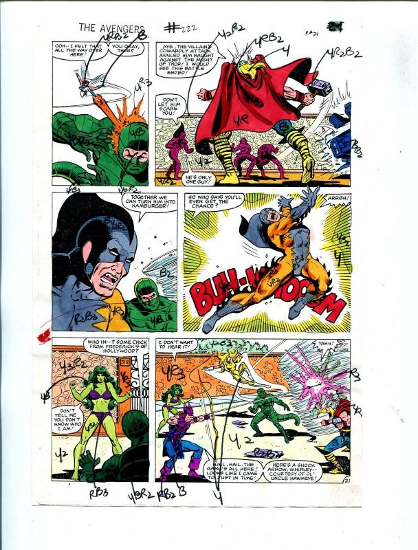Avengers #222 1982 Hand Painted  Colorguide Page 21-She-Hulk-Thor-VG