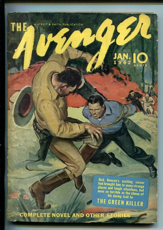 THE AVENGER 01/1942-STREET & SMITH-PULP-GREEN KILLER-KENNETH ROBINSON-vf minus