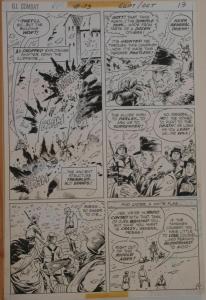 SAM GLANZMAN original art, G I Combat #173 Pg 9, 11x16, WWII, Haunted Tank