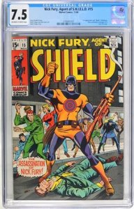 Nick Fury, Agent of SHIELD #15 (1969) CGC Graded 7.5 First Appearance and De...