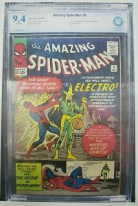 Amazing Spider-Man #9 - 1963 - CBCS 9.4 (NM) 1st App & Origin of Electro