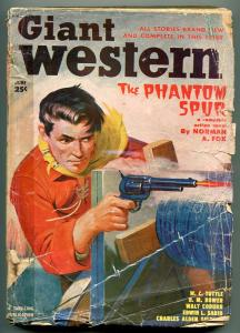 GIANT WESTERN 06/1950-THRILLING-PULP FICTION-GUNFIGHT-BARBED WIRE-TUTTLE-fr/good