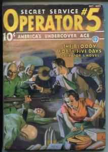 OPERATOR #5 10/1936-POPULAR-BLOODY FORTY-FIVE DAYS-FILE COPY-RARE PULP-vf