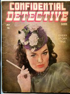 Confidential Detective Cases Magazine July 1945- True Crime- Smoking cover VG