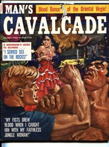 MAN'S CAVALCADE Jan 1958-Torture article-Sex rituals-Cheesecake