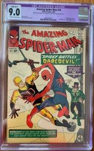 THE AMAZING SPIDER-MAN #16 CGC 9.0 -- 1ST DAREDEVIL XOVER LEE / DITKO restored