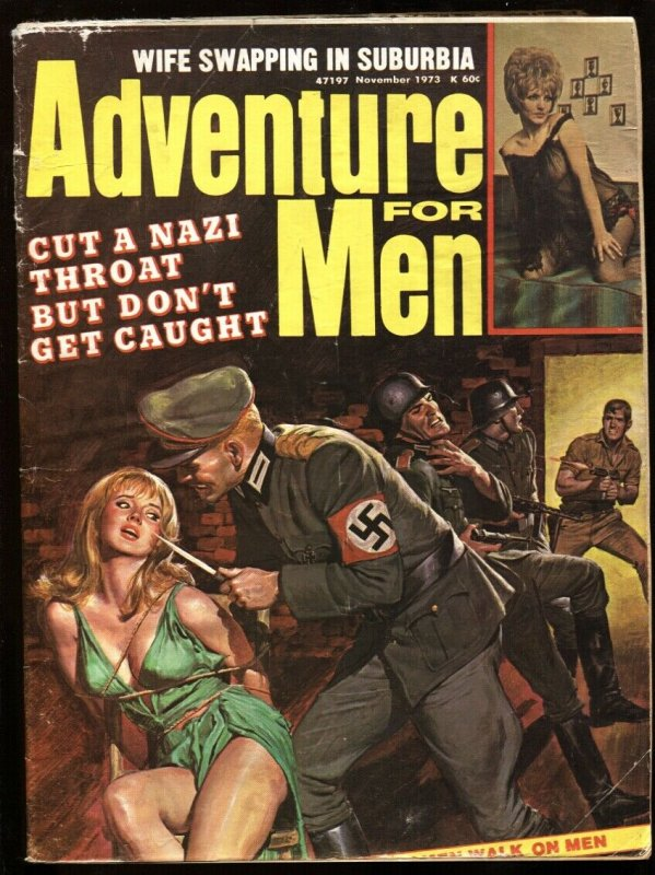 ADVENTURE FOR MEN-Nov 1973-NAZI menaces bound babe with knife!