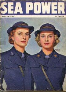 Sea Power 3/1943-McClelland Barclay cover art-war pix &info-rare-G/VG