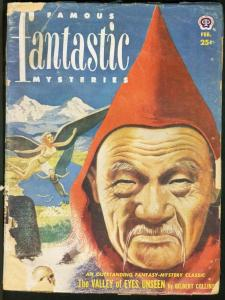 FAMOUS FANTASTIC MYSTERIES 1952 FEB-WEIRD COVER-L@@K! FR