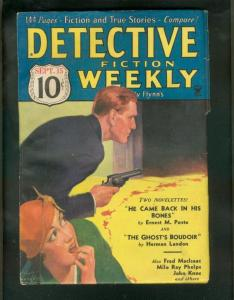 DETECTIVE FICTION WEEKLY PULP- 9/15/34-GHOST'S BOUDOIR VG
