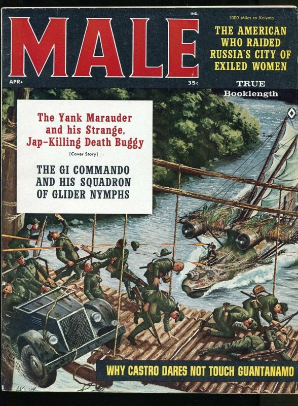 MALE MAGAZINE APRIL 1961- WW2 STORIES-CHEESECAKE PICTURES- FN+
