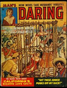 Man's Daring Pulp Magazine June 1964 - Caged women cover- Pete Wyma VG