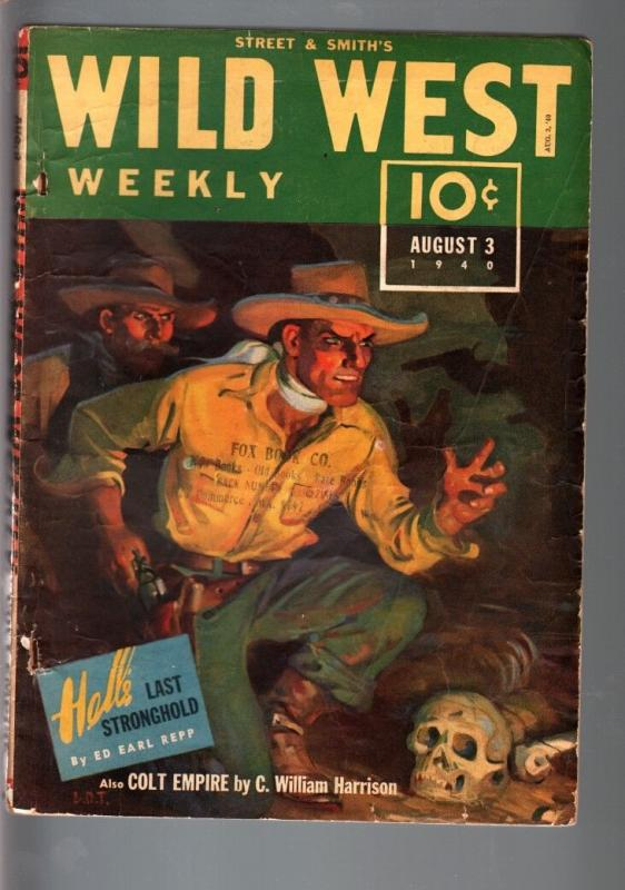 WILD WEST WEEKLY 8/3/1940-WESTERN PULP-COLT EMPIRE VG