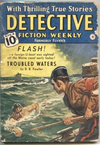Detective Fiction Weekly 8/4/1934-Red Star---U BOAT cover-mystery & crime pulp f