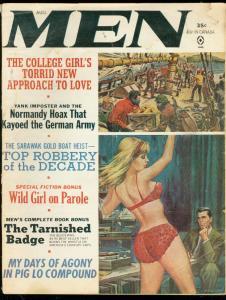 MEN PULP AUG 1965-SPICY GGA--ART AFRONS GREEN MONSTER G-