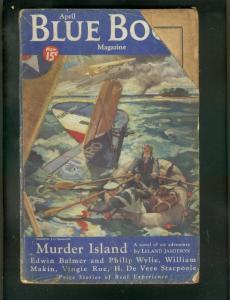BLUE BOOK PULP-4/1934-PLANE CRASH COVER-DARKTOWN STORY! FR