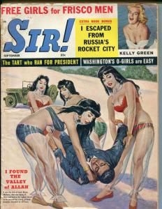 Sir! 9/1960-spicy Good Girl art cover-pulp crime-violence-snakes-rockets-GOOD