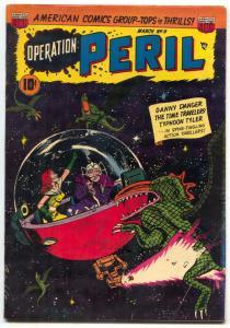 Operation Peril #9 1951- wild headlight / monster cover VG+