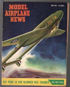 Model Airplane News 6/1951-RAF de Havilland Vampire-pix-builder tips-diagrams-VG