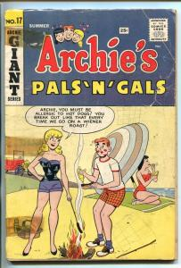 ARCHIE'S PALS 'N' GALS #17 1961-MLJ/ARCHIE-BETTY & VERONICA SWIMSUIT COVER-good