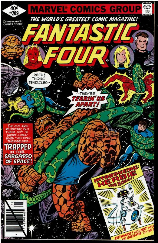Fantastic Four #209, 8.0 or Better *KEY* 1st HERBIE the Robot, 1st Byrne Artwork