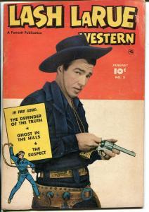 Lash LaRue Western #3 1950-Fawcett-B-Western film star-photo covers-VG