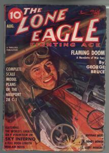 Lone Eagle 8/1937-Thrilling-aviation hero pulp-George Bruce-R.S. Bowen-VG