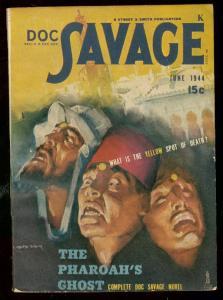 DOC SAVAGE JUNE 1944-PHAROAHS GHOST-WILD FEZ COVER S&S VF