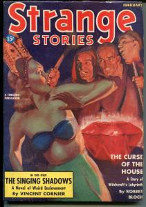 Strange Stories 2/1939-Thrilling-1st issue-weird menace-decapitaion-pulp-VF