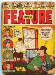 Feature Comics #63 1942 1941- DOLLMAN- Spider Widow glue FAIR