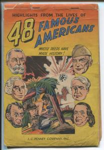 48 FAMOUS AMERICANS 1947-J C PENNEY CO-GIVEAWAY COMIC-SIMON & KIRBY-vg minus