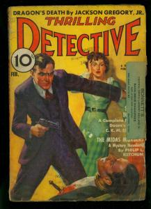 Thrilling Detective February 1938- Dragons Death- Philip Ketchum- G/VG