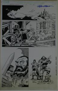 RON FRENZ / SAL BUSCEMA original art, BLACK KNIGHT #1 pg 6, 2010, 11x17, Warrior